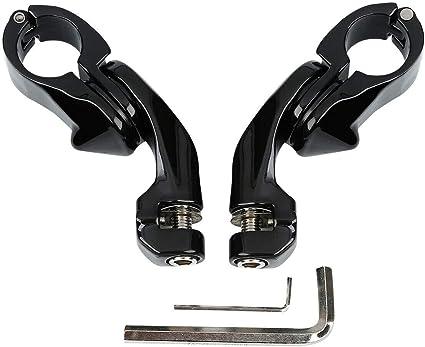 TCMT 1-1//4 32mm Gloss Black Long Angled Adjustable Highway Peg Mount Kit Fits For Harley 2 X Mounting Clamps, Black