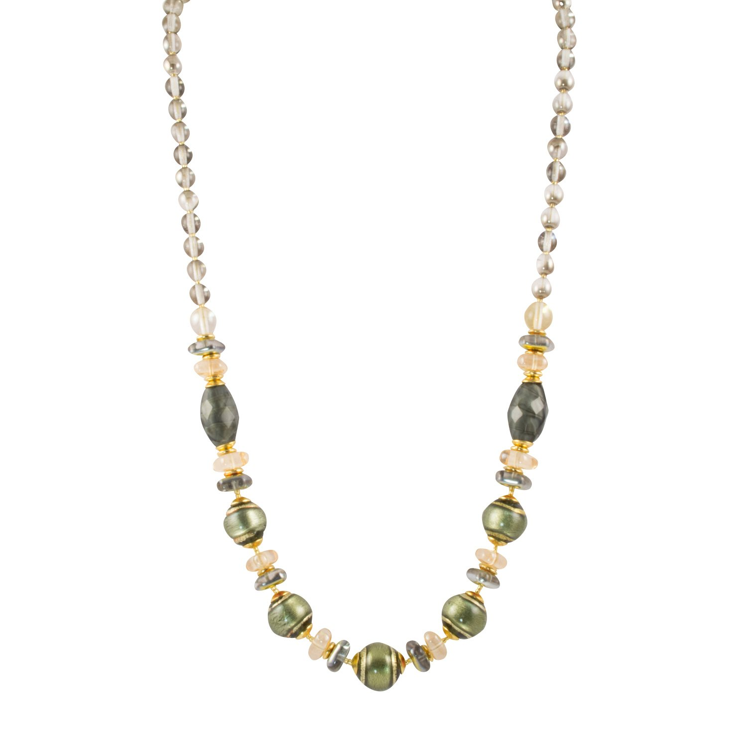 Murano di Susanne ''Verona'' 22k Gold Plated Murano Green and Gold Foil Glass Bead Necklace, 19+2'' Ext.