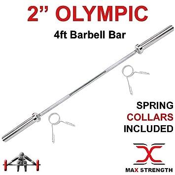 Max Strength - Barras olímpicas de 5 cm con Resorte para Levantamiento de Pesas, Culturismo y Entrenamiento de Fitness: Amazon.es: Deportes y aire libre