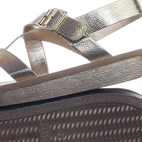 Bambus Gladiator Criss Cross Komfort Mykt Skum Fotseng Flat Sandal Bambus Gull