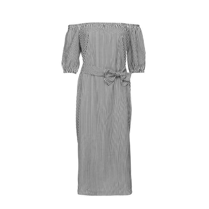 HOT SALE! WILLTOO ✿Women Bardot Lantern Sleeve Self Tie Vertical Striped Dress