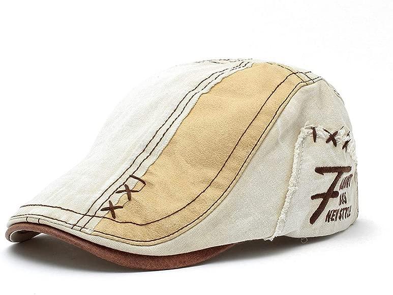 FOOKREN Men Breathable Flat Cap Adjustable Newsboy Beret Ivy Cap Cabbie Hat