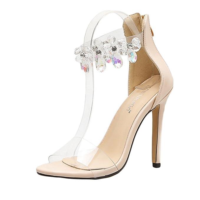 BBestseller Mujer Tacon Alto Sandalias, Verano 2019 Moda Cristal Transparente Peep Toe Sandalias Vestido de Fiesta Zapatos de Corte: Amazon.es: Ropa y ...