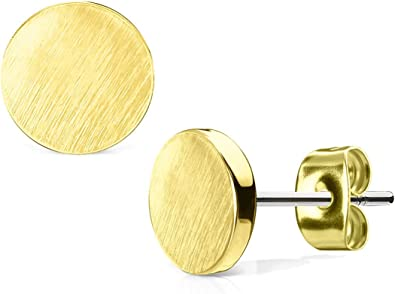 Brushed gold-plated round earrings