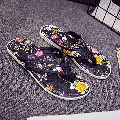 夏メンズフリップフロップ、ビーチスリッパ、個性インク風、印刷、スリッパ、メンズTide靴、クールMop B073PXGQZB  ブラックプリント US8.5-9/EU41/UK7.5-8/CN42