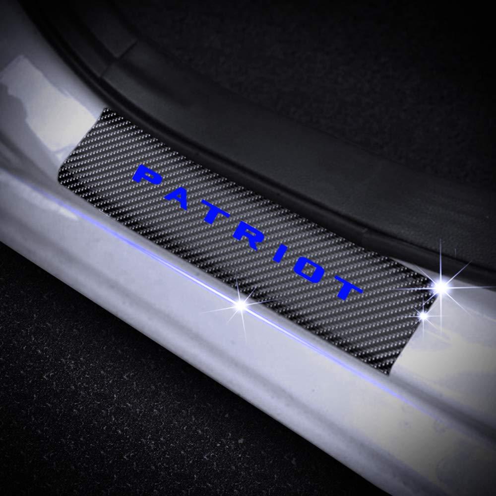 for Jeep Patriot 4D Carbon Fiber Door Entry Guards Paint Scratch Cover Protector Threshold Trim Stickers Blue 4Pcs