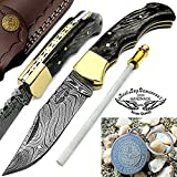 "Black Wood 6.5"" Handmade Damascus Steel Brass Bloster Back Lock Folding Pocket Knife With Sharpening Rod Folding Pocket Knife 100% Prime Quality"