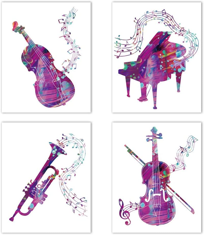 "Watercolor Music Instruments Wall Art Print - Piano, Violin, Saxophone, Guitar Musical Notes Painting - Fashion Canvas Art Picture for Music Classroom Living Room Decoration(Unframed,8""X10"")"