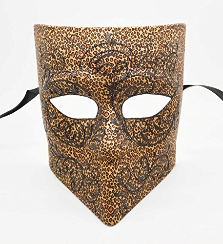 Men's Leopard Bauta Mask Roman Greek Venetian Spartan Masquerade Mask Cos Play Mask]()