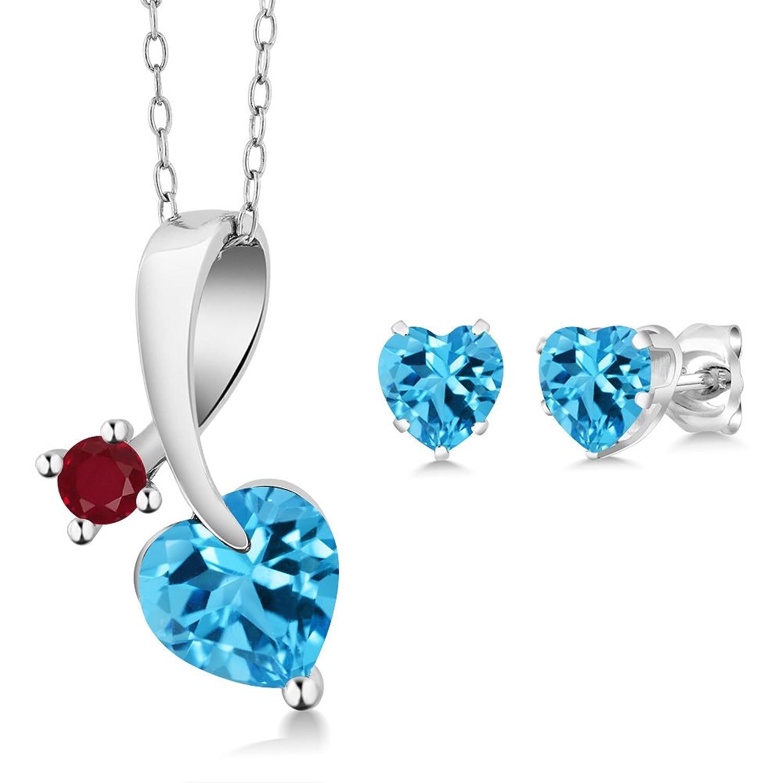 2.76 Ct Heart Shape Swiss Blue Topaz 925 Sterling Silver Pendant Earrings Set
