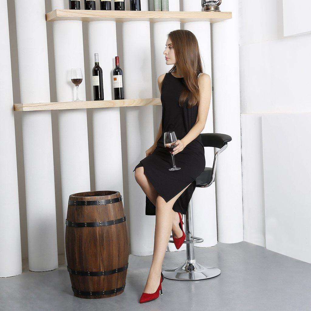 LANGRIA Tabourets de Bar Madrid en Similicuir Rotatif /à 360 D/égr/ées Hauteur R/églable Lot de 2, Noir Barre et Repose-Pieds Chrom/és Comptoir ou Cuisine pour Bar