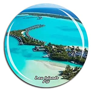 Lau Islands Fiji Fridge Magnet 3D Crystal Glass Tourist City Travel Souvenir Collection Gift Strong Refrigerator Sticker
