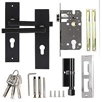 Kamerdeur deurbeslag slot, aluminium vintage deurklink set deurklink antieke deurklink kamerdeur, zwart