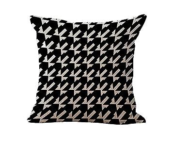 Amazon.com: Blanco y Negro Franja de funda de almohada cojín ...