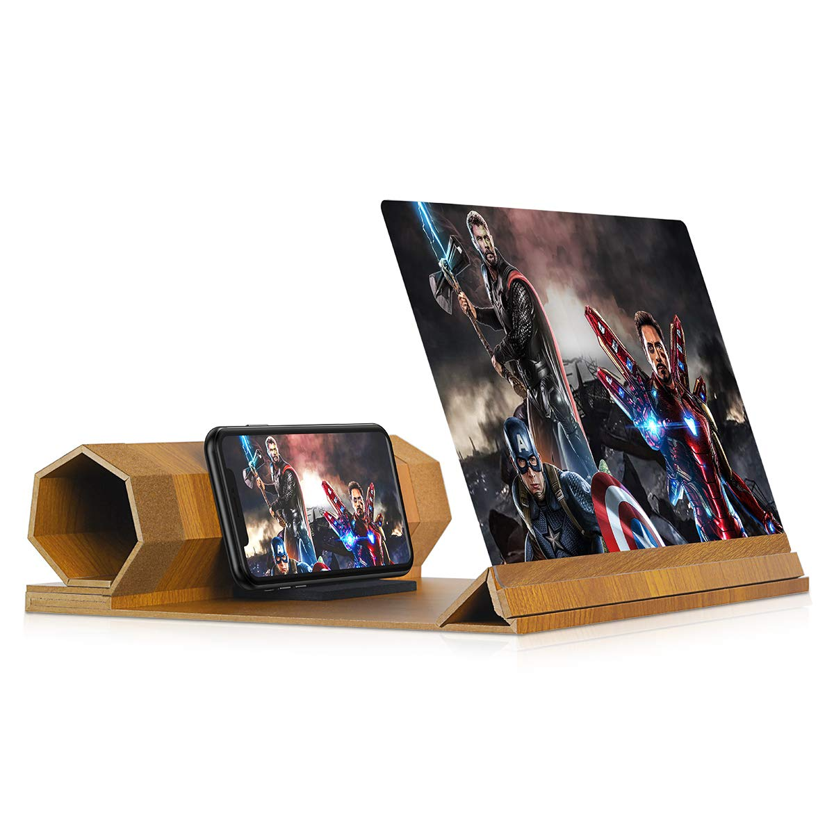 12'' Screen Magnifier for Smartphone - Mobile Phone 3D Magnifier Projector Screen for Movies, Videos, and Gaming - Foldable Phone Stand with Screen Amplifier - Compatible with All Smartphones by dizauL
