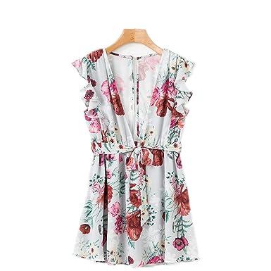 dfb54fd21 Women Chiffon Bohemian Floral Print Boho Beach Summer Dress Deep V-Neck  Short Sleeve Ruffle