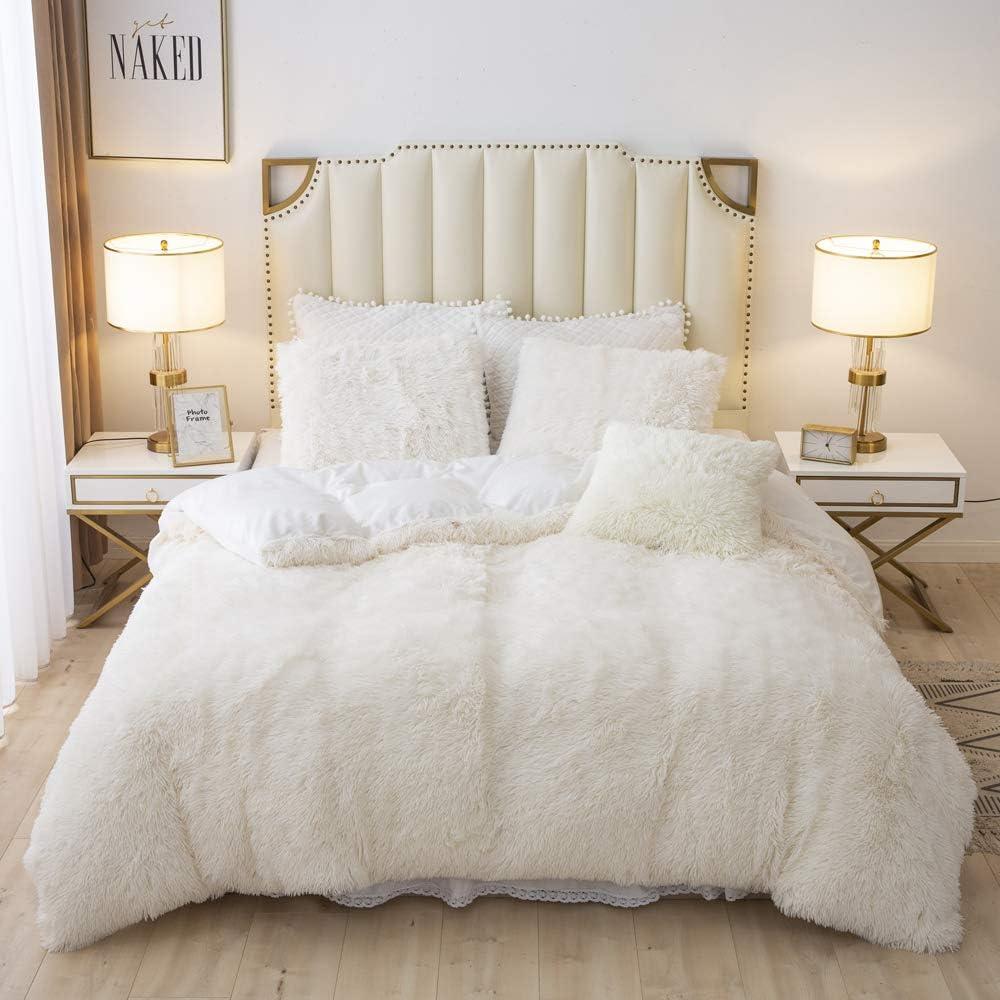 TARGEEN Long Faux Fur Velvet Fluffy Bedding Duvet Cover Sets Soft Luxury Shaggy Plush Comforter Set(1 Faux Fur Duvet Cover+ 2 Faux Fur Pillowcase), Zipper Colsure(Queen, Beige)