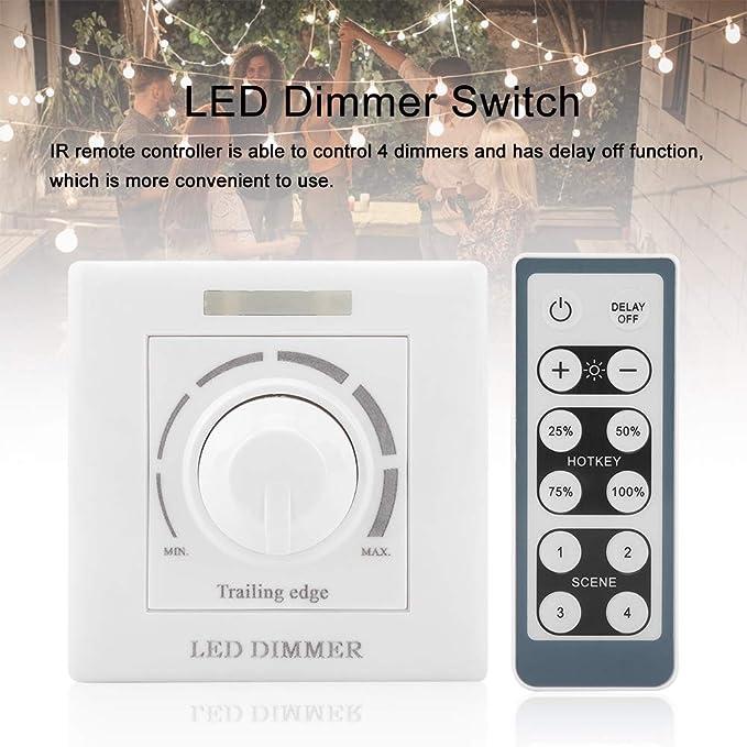 220V Regulador de atenuaci/ón para luces LED Interruptor de regulaci/ón LED Interruptor de pared ajustable inal/ámbrico con control remoto IR 200W Compatible con tipos de potencia de reg