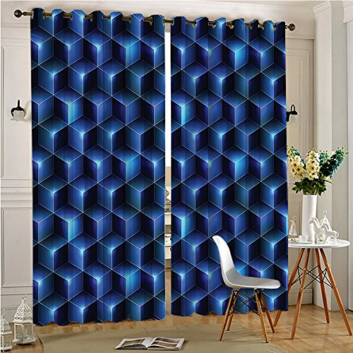54 Black Cube - Jiahonghome Blackout Extra Long Curtains Blue Effect Neon Shaded Cubes Edgy Patterns Contemporary Home Dark Blue for Bedroom(2 Panels, 54