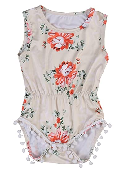 2138e70f09e Younger Tree Infant Baby Girl Sleeveless Tassel Romper Floral Bodysuit  Outfit Clothes (6-12