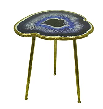 Resin Accent Tables Rts Blue Agate Geode Design Faux Gold Leaf Finish  Decorative Accent Table