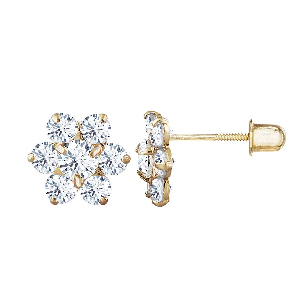 14kt Solid Gold Kids Flower Stud Screwback Earrings