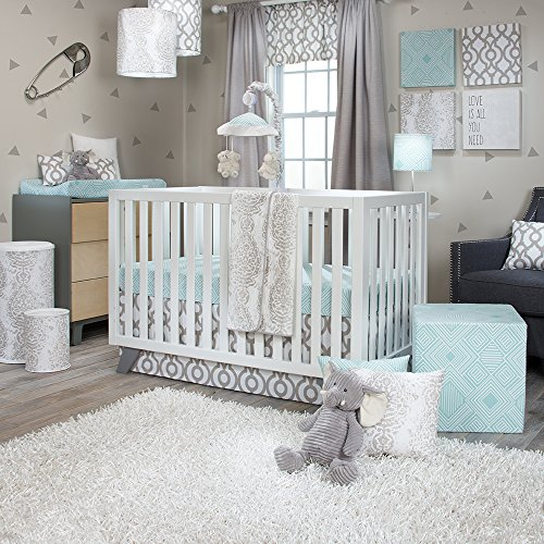 Skirt Jean Cotton Crib Glenna (Sweet Potato Soho 3 Piece Set (Includes Quilt, Aqua Print Sheet, Crib Skirt))