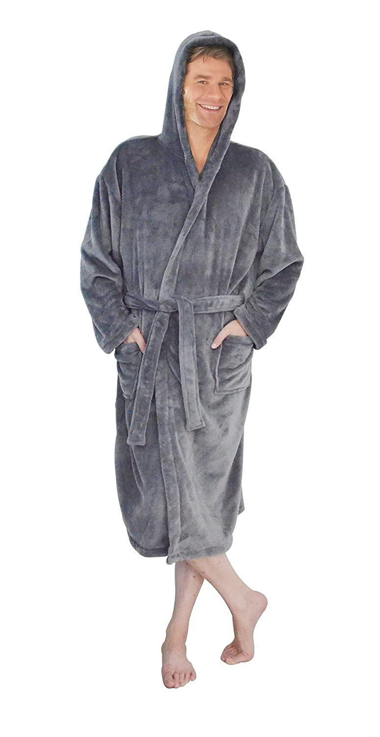 MENS HOODED SOFT FLEECE GREY THERMAL SUPER SOFT DRESSING GOWN ROBE WITH HOOD