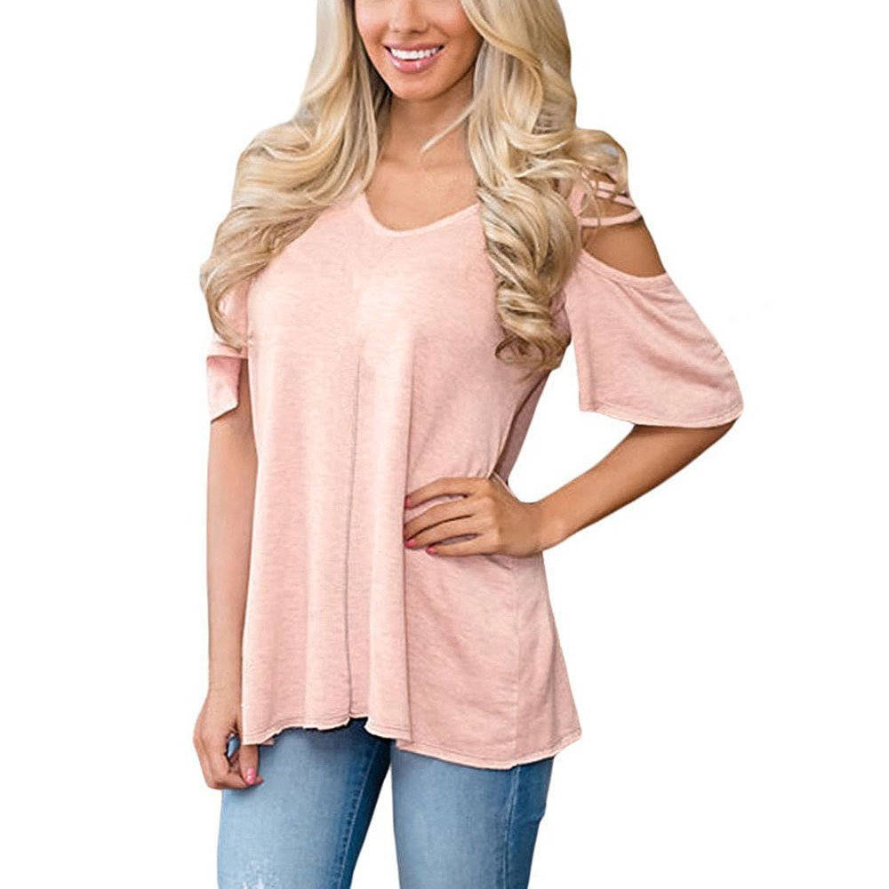 Sporting Style Women's Fashion Summer Sexy Cold Shoulder 1/2 Sleeve Casual T-Shirt for Beach Party etc