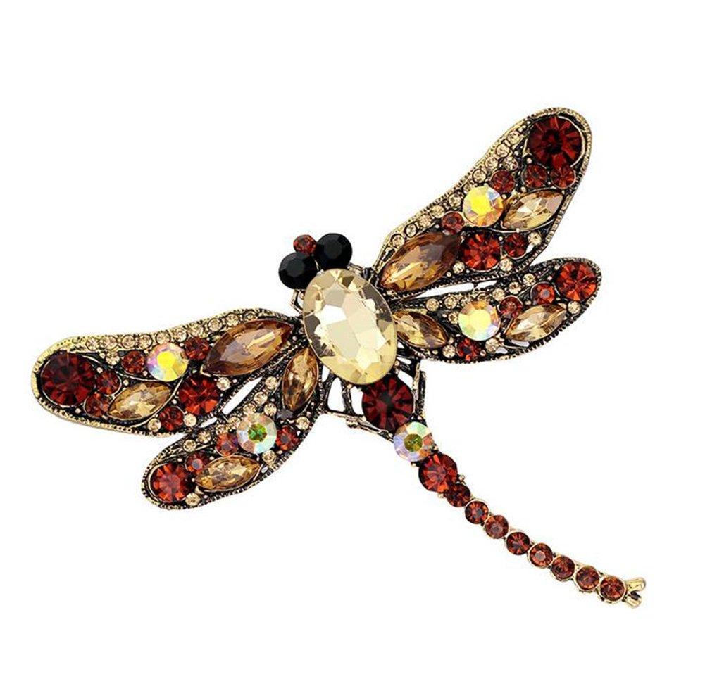 Qinlee Libellule Broches Mignon Strass Cristal Corsage Collier Pins Cadeau Mode Bijoux 6 Couleurs xzlxn001