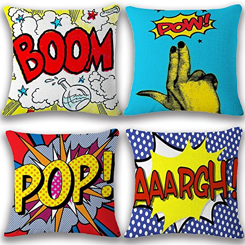JOTOM Soft Cotton Linen Throw Pillow Case Cover Home Decorative Square Cushion Cover18'' x 18'' Set of 4 (BOOM POP)