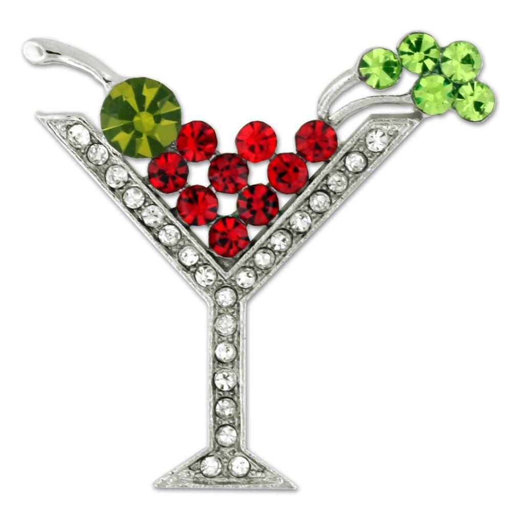 PinMart's Rhinestone Multicolored Martini Glass Christmas Holiday Brooch
