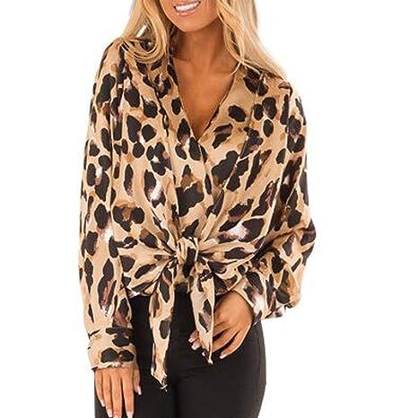 055152e58fdd16 SMILEQ Top Fashion Shirt Women V-Neck Leopard Print Tops Ladies Loose Long  Sleeve Blouse