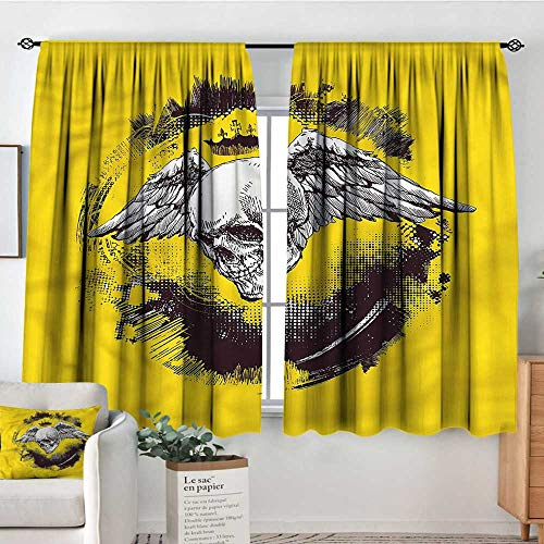 PriceTextile Tattoo,Customized Chid Curtains Death Angel Wings Skull 52