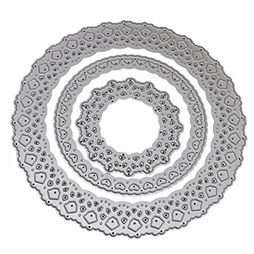 (SMALL-CHIPINC - Pierced Round Frame Metal Steel Cutting Dies Stencil Card Decoration DIY Scrapbooking Paper Photo Embossing Craft)