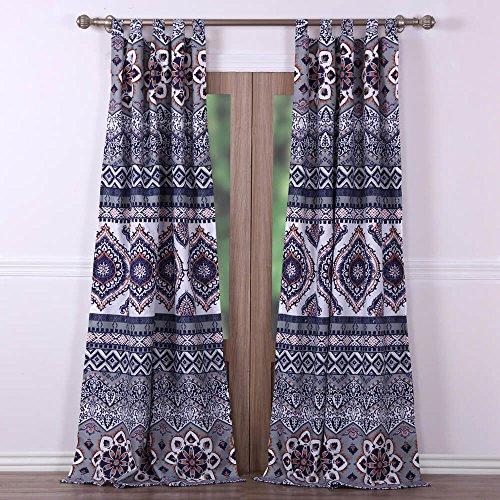 Perfect Boho Chic Moroccan Paisley Grey Orange Window Curtains Panels Pair 84  Length Set Of 2