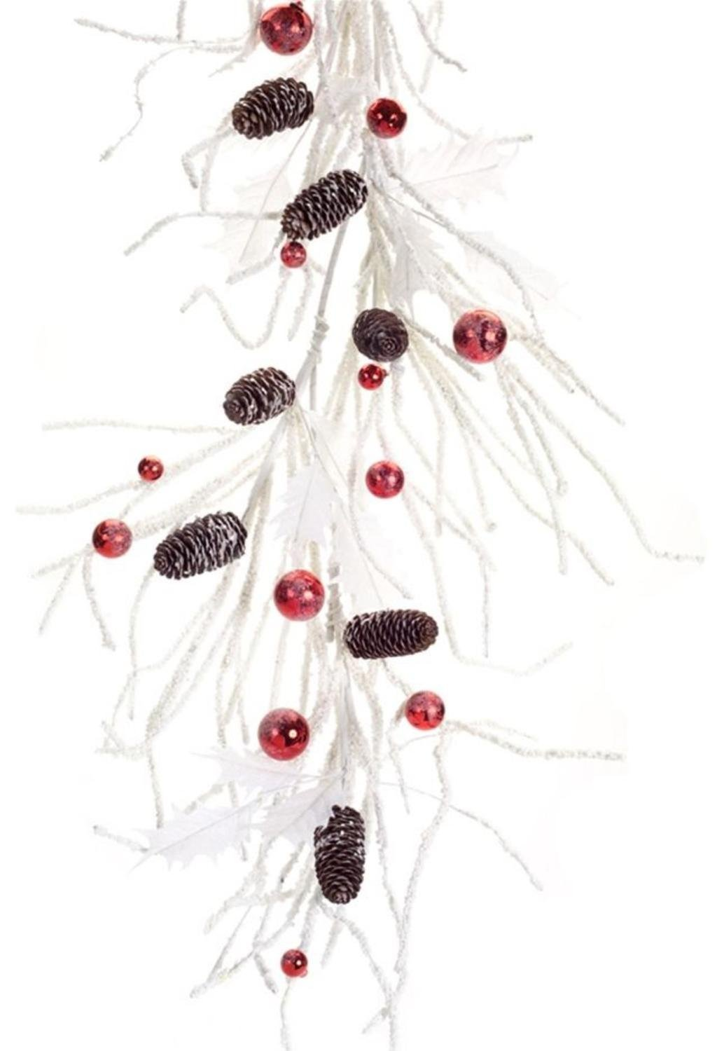 """Set of 2 White Snowy Ornament Garland with Pine Cones and Red Holly 67"""""""