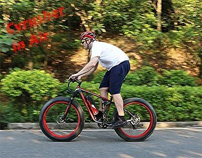 Cyrusher Fat Tire Electric Bike 1000W Snow E-Bike Beach Cruiser 48 volt Men Women Dual Suspension XF800 Off Road Mountain e-Bike Pedal Assist, Lithium Battery Hydraulic, Disc Brakes Shimano 7 Speeds
