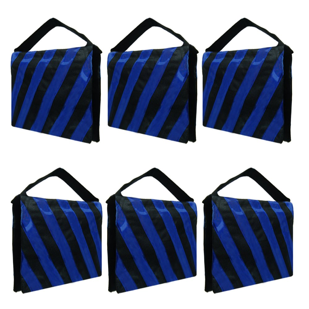 Julius Studio Sandbag 6 Packs of Heavy Duty Photographic Sandbag Blue Stripe, Video Photo Studio Weight Bag for Light Stand Tripod, Boom Arm Stand, 20 lbs Max Capacity Saddlebag, JSAG254 by Julius Studio
