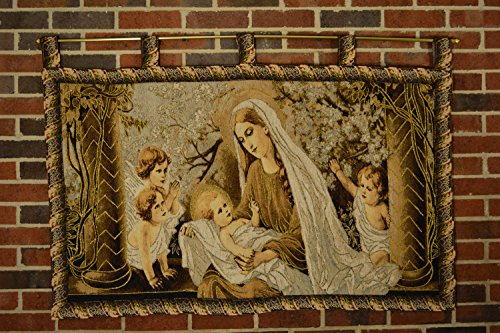 Tache Pastoral Christ Among the Blossoms Tapestry Wall Hanging Art Decor with Hanging Loops, 28