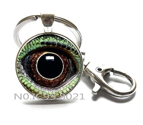 Amazon.com: Dragon Eye llavero llavero de ojo de gato verde ...