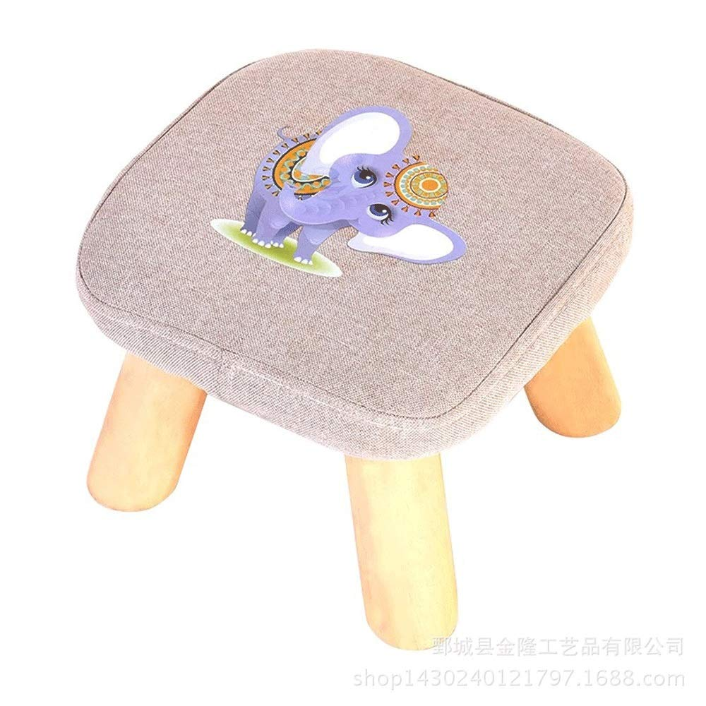 Dertyped Upholstered Padded stools Children Wooden Footstool Cute Cartoon Animal Style Home Stool Size 292920CM Ideal for Children stools Home Living Room Bedroom (Color : Figure 3, Size : 292920)