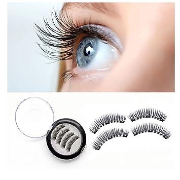 f25563a65cb Amazon.com : BONNIE CHOICE 4 Pcs One Two Lash Magnetic False Eyelashes 3  Magnets Eye Lashes (1 Pair) : Beauty
