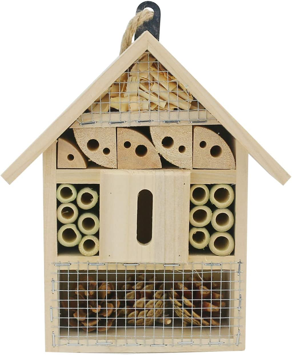 "Sunnygalde Hand-Made Natural Wooden Insect House Garden Bug Hotel Perfect Home for Ladybugs/Mason Bees/Butterflies Live (8.5"" x 5.3"" x 2.2"")"