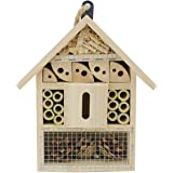 """Sunnygalde Hand-Made Natural Wooden Insect House Garden Bug Hotel Perfect Home for Ladybugs/Mason Bees/Butterflies Live (8.5"""""""