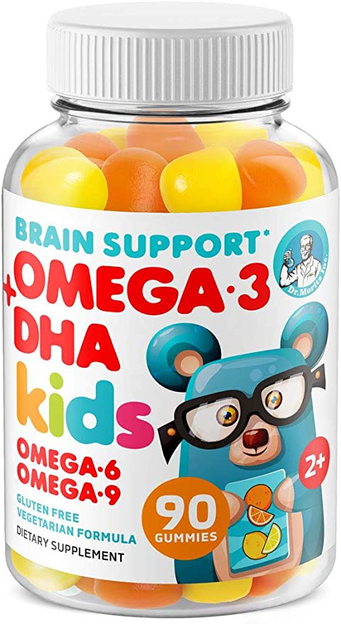 Omega 3 Gummies for Kids & Toddlers with Omega 6 & 9 (90 Count) DHA Children Brain Supplement for Heart and Vision Support – No Fish Oil and Gluten Free Immune Health Plant Based Fiber Chewable