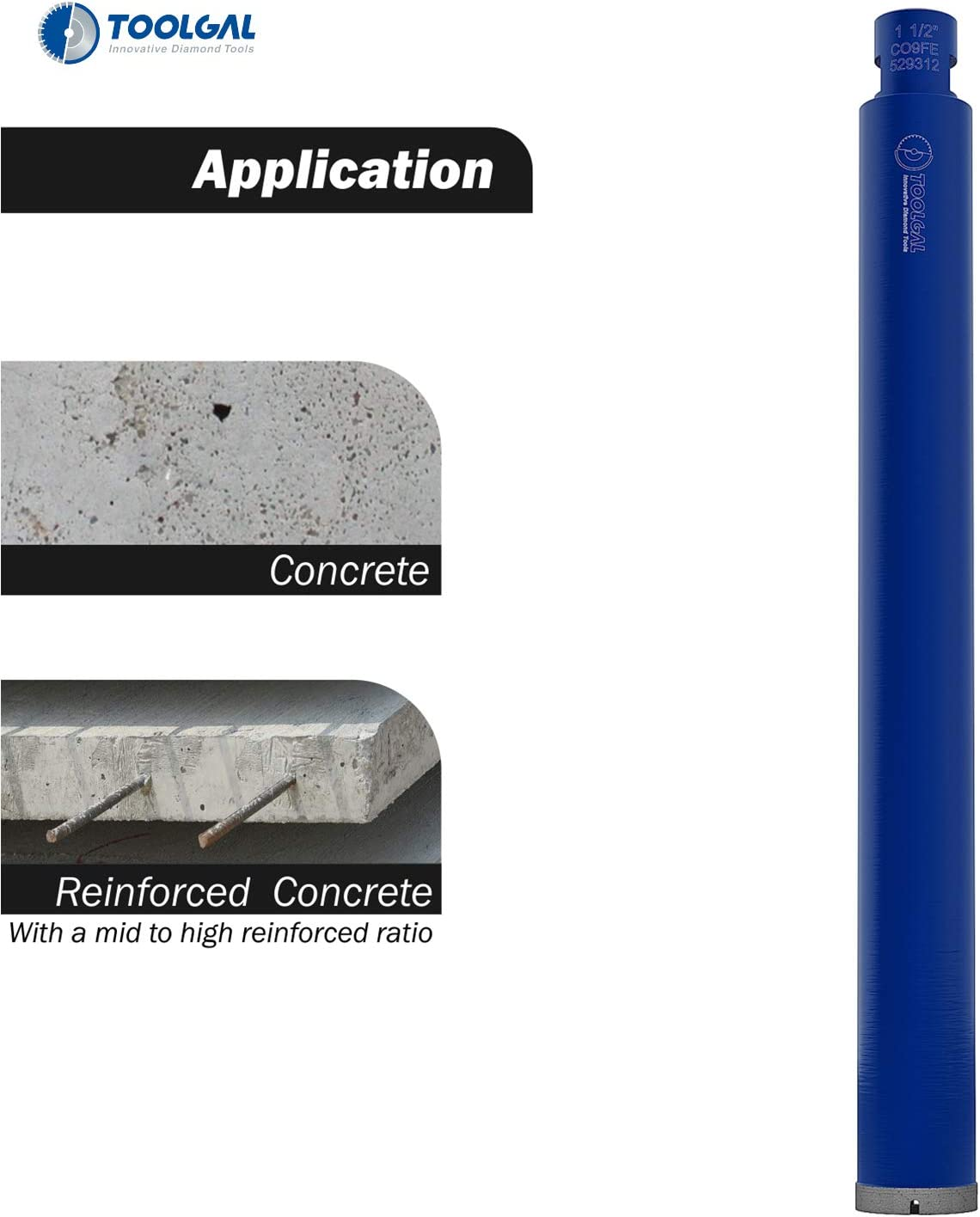 """Diamond Core Drill Bit Toolgal 1 1//2/"""" Wet Drilling only for Use with Fixed or Hand-Held Core Drilling Machines with Water Feed to Drill Holes in Construction Materials Such as Concrete 40mm Reinf"""