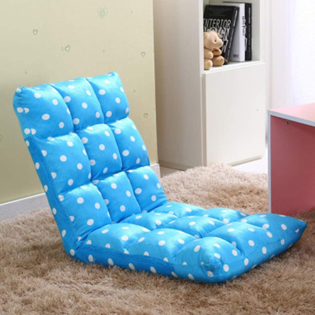 QNN Desk Chair,Folding Sofa Chair, Adjustabl Lazy High-Back Chair,Comfort, Elegant Multi-Angle Floor Chair,Polka Dot Blue