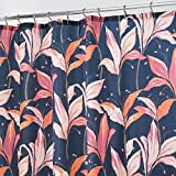 Pink and Orange Shower Curtain mDesign Decorative Lily Blossom Print Easy Care Fabric Shower Curtain with Reinforced Buttonholes, for Bathroom Showers, Stalls and Bathtubs, Machine Washable- 72