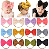 12pcs 4.7 Inches Baby Girls Nylon Headbands Big Bows Hair Bands Elastics Hair Accessories for Toddlers Infants Newborn